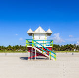 Lifeguard cabin on empty beach, Miami Beach, Florida, USA, safet Stock Photos