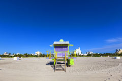 Lifeguard cabin on empty beach, Stock Images