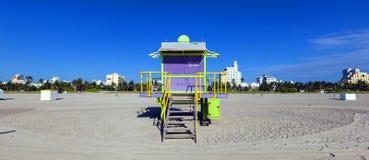 Lifeguard cabin on empty beach, Royalty Free Stock Photos
