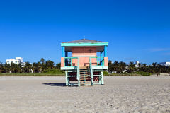 Lifeguard cabin on empty beach, Stock Photos