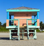 Lifeguard cabin on empty beach, Stock Image