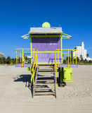 Lifeguard cabin on empty beach, Royalty Free Stock Images