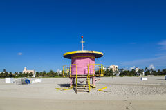 Lifeguard cabin on empty beach, Stock Photography
