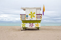 Lifeguard cabin at Miami Beach Royalty Free Stock Photo
