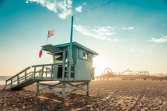 Lifeguard cabin on Santa Monica beach Royalty Free Stock Image