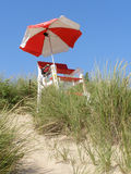Lifeguard Chair. A lifeguard chair on a sunny day at the beach royalty free stock photo