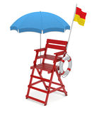 Lifeguard chair. Lifebuoy and umbrella over white background Royalty Free Stock Photography