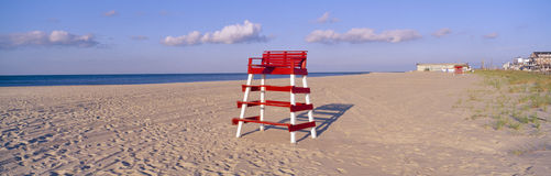 Lifeguard chair. At the beach in morning, Cape May, New Jersey stock photo