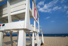 Lifeguard Chair. On beach with wide angle royalty free stock images