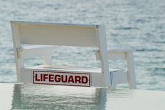 Lifeguard chair. Over looking ocean stock images