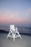 Lifeguard Chair at Beach. Empty White Lifeguard Chair at Beach royalty free stock photos