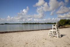 Lifeguard Chair. A lifeguard chair on the beach at Oleta River State Park royalty free stock image