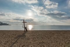 Lifeguard chair on beach Ses figueretes de Ibiza. Spain Royalty Free Stock Photos