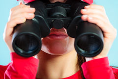 Lifeguard on duty looking through binocular Royalty Free Stock Photo