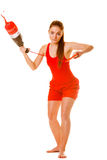 Lifeguard on duty with rescue torpedo buoy. Royalty Free Stock Photography