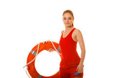 Lifeguard on duty with ring buoy lifebuoy. Royalty Free Stock Photo