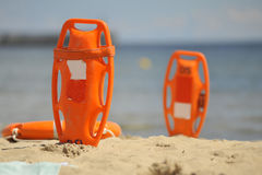 Lifeguard equipment on the beach. Lifeguard equipment laying on a beach in Poland Royalty Free Stock Photography