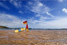 Lifeguard flag Bigbury on Sea Devon Stock Image