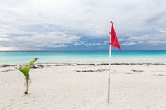 Lifeguard flag on caribbean beach Royalty Free Stock Images
