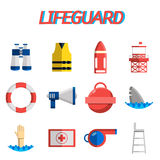 Lifeguard flat icon set Stock Photos