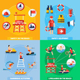 Lifeguard 4 Flat Icons Square Composition Stock Photo