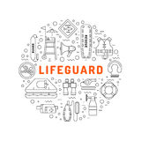 Lifeguard flat outline icon. S set with with equipment and rescue equipment for the rescue of drowning. Water rescue symbols isolated vector illustration Royalty Free Stock Photo