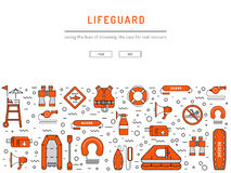 Lifeguard flat outline icon. S set with with equipment and rescue equipment for the rescue of drowning. Water rescue symbols isolated vector illustration Stock Image