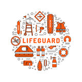 Lifeguard flat outline icon. S set with with equipment and rescue equipment for the rescue of drowning. Water rescue symbols isolated vector illustration Royalty Free Stock Images
