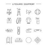 Lifeguard flat outline icon. S set with with equipment and rescue equipment for the rescue of drowning. Water rescue symbols isolated vector illustration Royalty Free Stock Photos