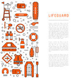 Lifeguard flat outline icon. S set with with equipment and rescue equipment for the rescue of drowning. Water rescue symbols isolated vector illustration Royalty Free Stock Photography