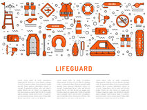 Lifeguard flat outline icon. S set with with equipment and rescue equipment for the rescue of drowning. Water rescue symbols isolated vector illustration Stock Photography