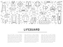 Lifeguard flat outline icon. S set with with equipment and rescue equipment for the rescue of drowning. Water rescue symbols isolated vector illustration Royalty Free Stock Image