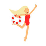 Lifeguard girl character in a red swimsuit running with lifebuoy  Illustration Stock Photos