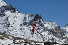 Lifeguard helicopter on Everest base camp in Nepal Stock Image