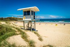 Lifeguard house on the beach in Lighthouse beach in Australia stock images