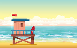 Lifeguard house, beach, sea, sky. Cartoon lifeguard house on cloudy sunset sky and blue sea in background. Summer  illustration Stock Images