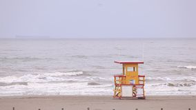 Lifeguard house at the Gulf of Mexico beach stock footage