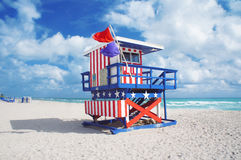 Lifeguard house at South Beach of Miami Stock Images