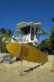 Lifeguard house with surf board. Lifeguard tower in Waikiki, Hawaii Royalty Free Stock Image