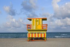 Lifeguard houses in Miami Beach. Lifeguard houses protected beaches in Miami Beach Florida Royalty Free Stock Image