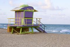 Lifeguard houses in Miami Beach Royalty Free Stock Photo