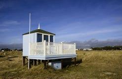 Lifeguard Hut. A lifeguard station on sand dunes at Hengistbury Head / Mudeford Spit near Christchurch in Dorset Stock Image