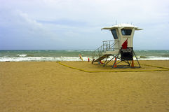 Lifeguard hut. In stormy weather Stock Images