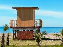 Lifeguard hut on the beach stock photos
