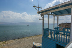 Lifeguard hut and boat at swimming beach at the Sea of Galilee Stock Photos