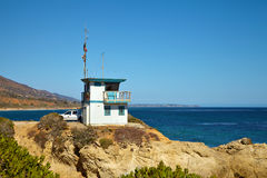 Lifeguard hut on the Malibu beach. California Royalty Free Stock Photo