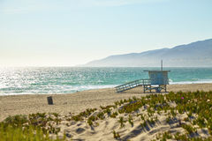 Lifeguard hut on the Malibu beach. California Stock Photography