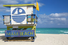 Lifeguard hut of Miami Beach Stock Images