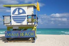 Lifeguard hut of Miami Beach stock images