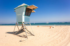 Lifeguard hut on Santa Barbara beach. Lifeguard post on empty beach of Santa Barbara, California stock photography